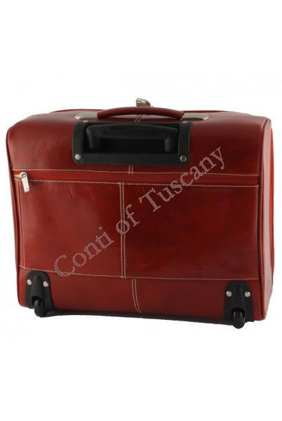 """Made In Italy"" Pilot Leather Bag With Wheels - Skinny Bridge - Leather Hand Luggage Large Purse Shop"
