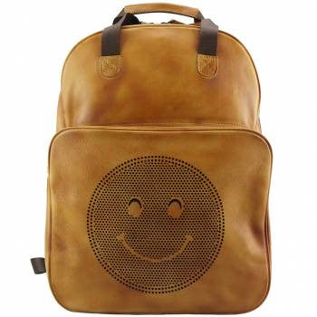 Firenze Italian Leather Backpack With A Smiley Face - Leather Backpack Large Purse Shop