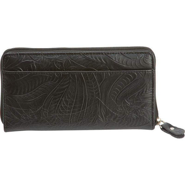 Black Solid Genuine Leather Ladies Wallet - Leather Wallet Large Purse Shop