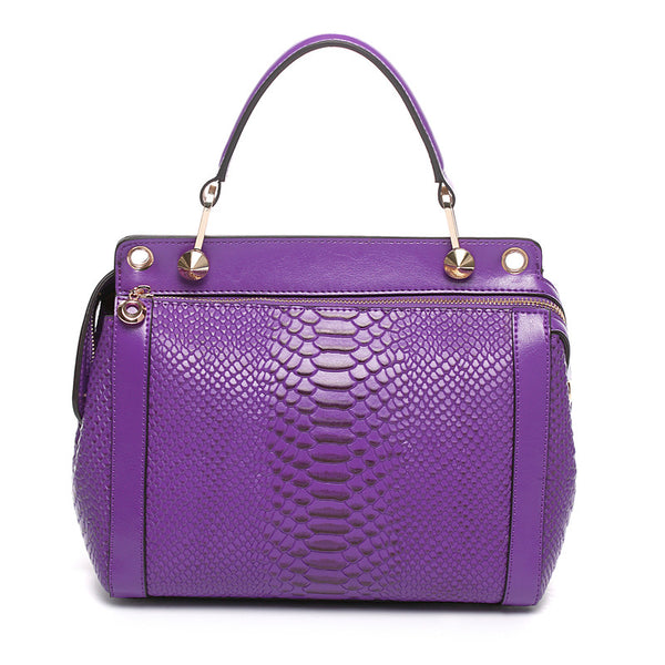 Designer Python Pattern Leather Tote Bag