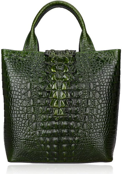 Designer Crocodile Pattern Italian Leather Tote
