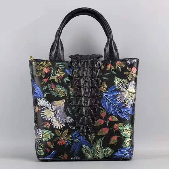 Designer Women's Flowery Italian Leather Handbags