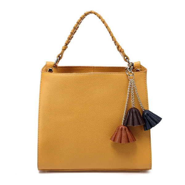 Designer Leather Tote Bag With Flower Attachments