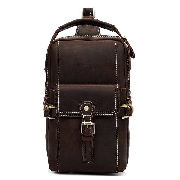 Designer Multi-Pockets Leather Chest Bag -Sling Bags - Leather Man Bags Large Purse Shop