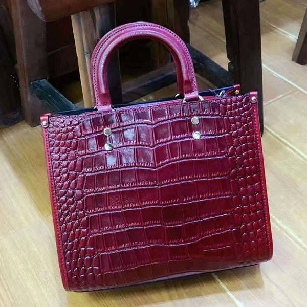 Designer Crocodile Pattern Real Leather Tote