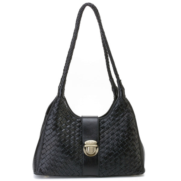 Designer Woven Italian Leather Shoulder Bag