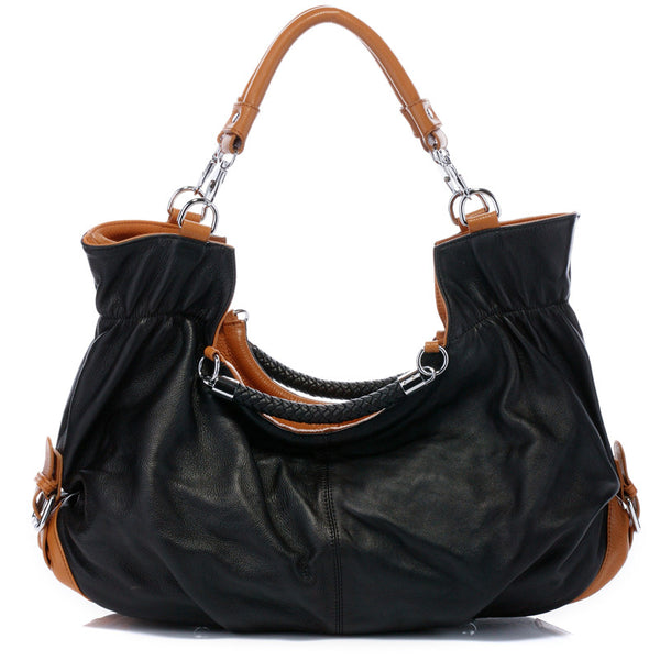 Designer Black Italian Leather Tote Bag