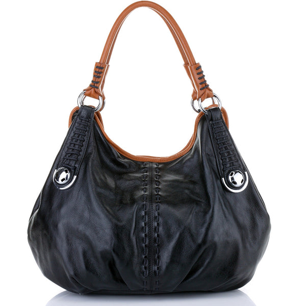 Designer Black Italian Leather Hobo Bag