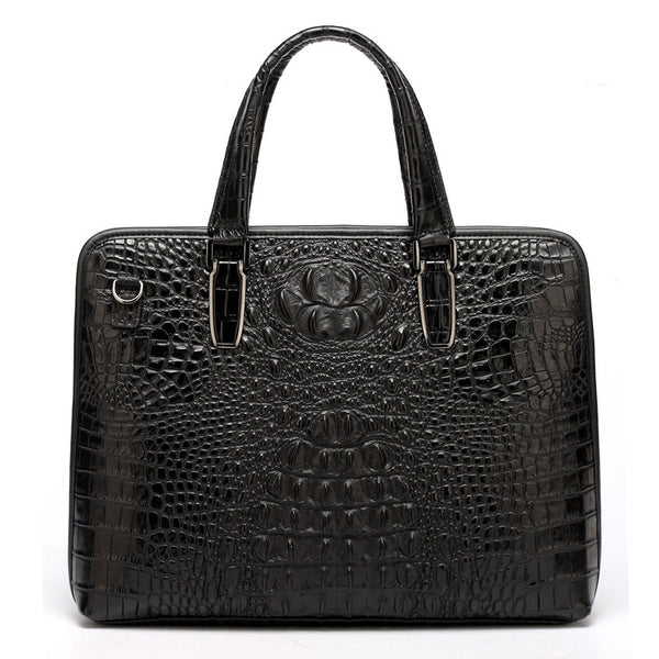 Designer Crocodile Patterned Leather Laptop Bag, Briefcase