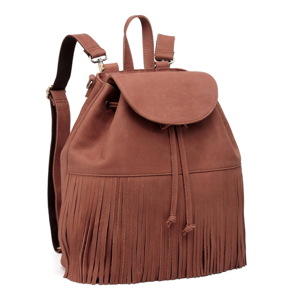 Designer Leather Backpack with Tassels