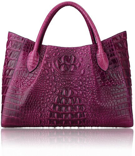 Designer Leather Diaper Bag Embossed With Crocodile Print - Leather Diaper Bag Large Purse Shop