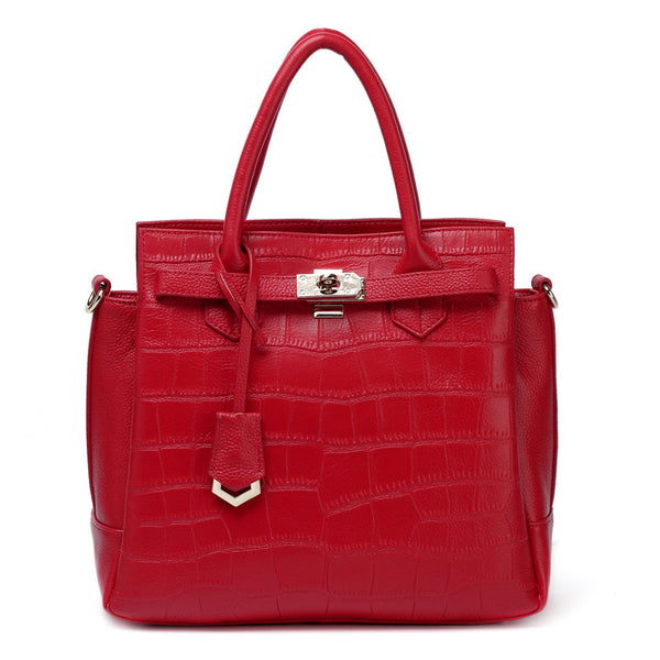 Designer Crocodile Pattern Leather Tote Bag
