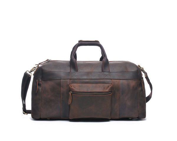 """Designer Inspired"" Pull-Up Leather Travel Bag - Leather Hand Luggage Large Purse Shop"