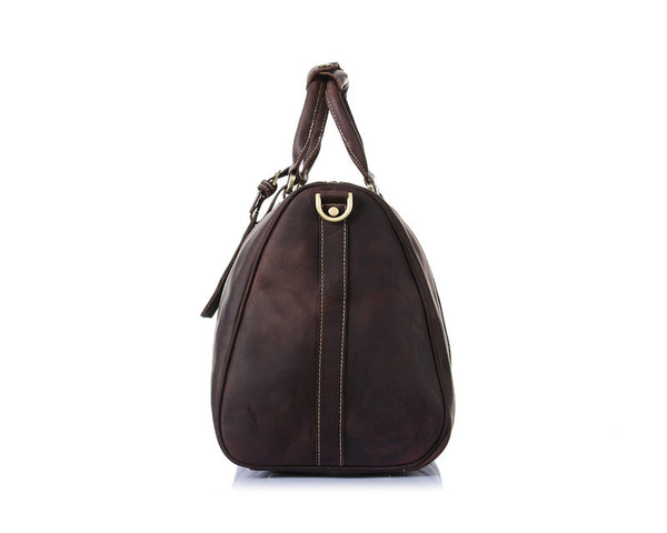 """Designer Inspired"" Pull-up Leather Weekender Bag - Leather Hand Luggage Large Purse Shop"