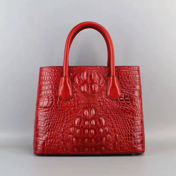 Designer Italian Leather Tote Bags Embossed With Crocodile Pattern