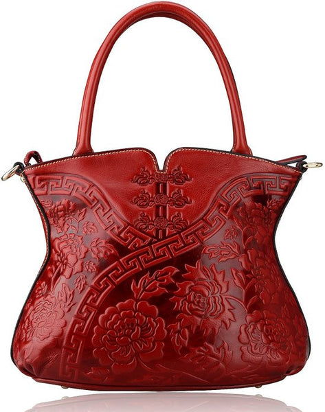 Designer Italian Leather Tote With Flower Pattern