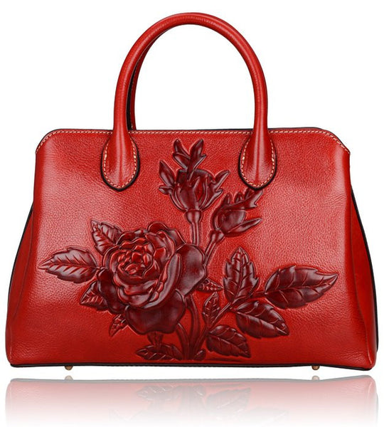 Designer Floral Embossed Italian Leather Handbag