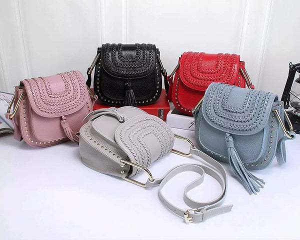 Designer Braid & Tassels Mini Leather Bags - 2 sizes