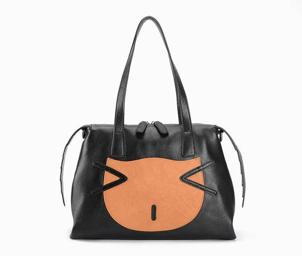 Designer Genuine Leather Shoulder Cat Bag - Designer Inspired Handbags Large Purse Shop