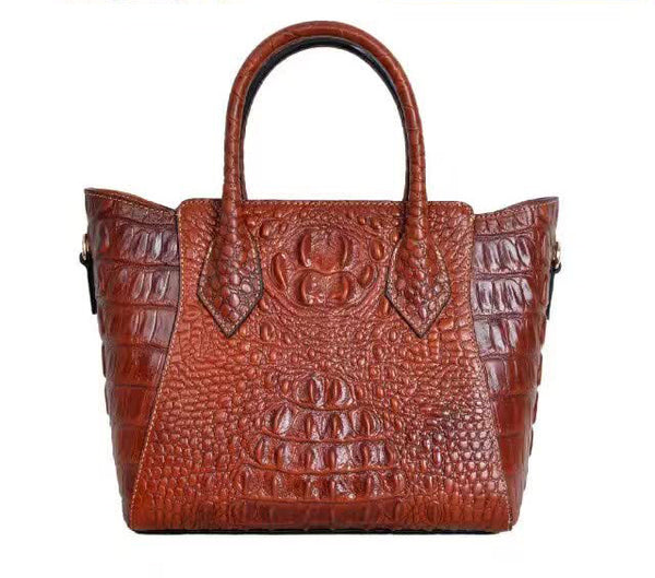 Designer Women's Leather Handbag  Embossed with a  Crocodile Pattern