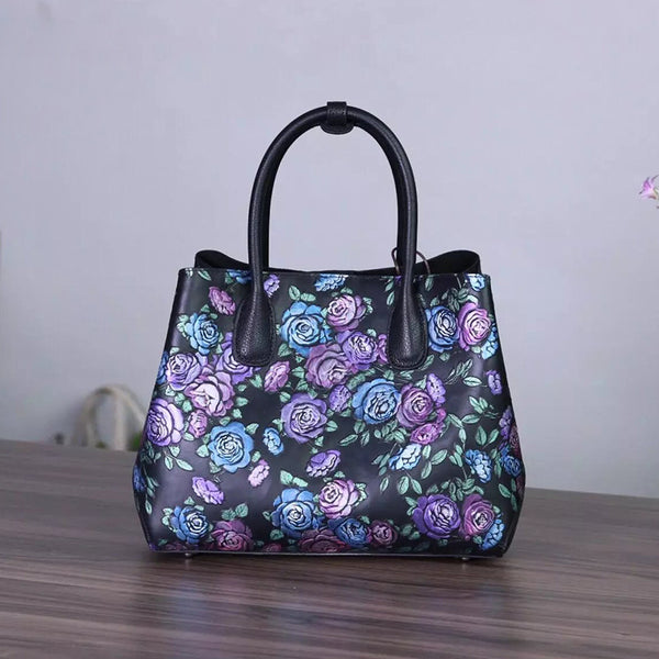 Designer Handcrafted Rose Patterned Leather Handbag