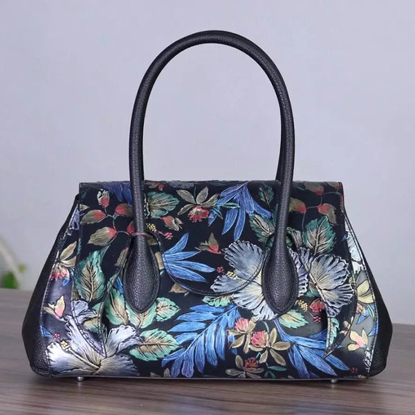 Designer Handcrafted  Leather Handbag Embossed With Flowers