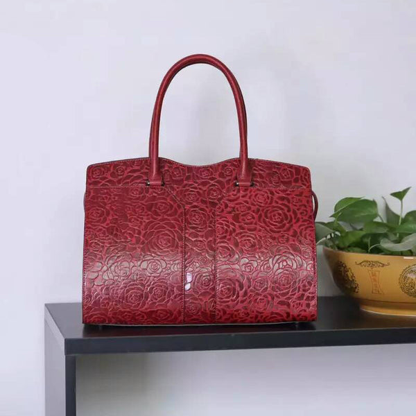 Designer Italian Leather Handbag With Floral Design