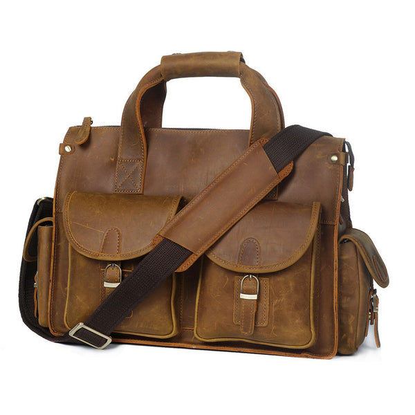 Designer Leather Briefcase and Laptop Bag