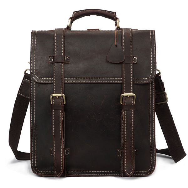 Designer Crazy Horse Pull Up Leather Backpack