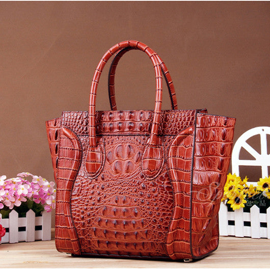 Designer Crocodile Pattern Leather Tote - Designer Inspired Handbags Large Purse Shop