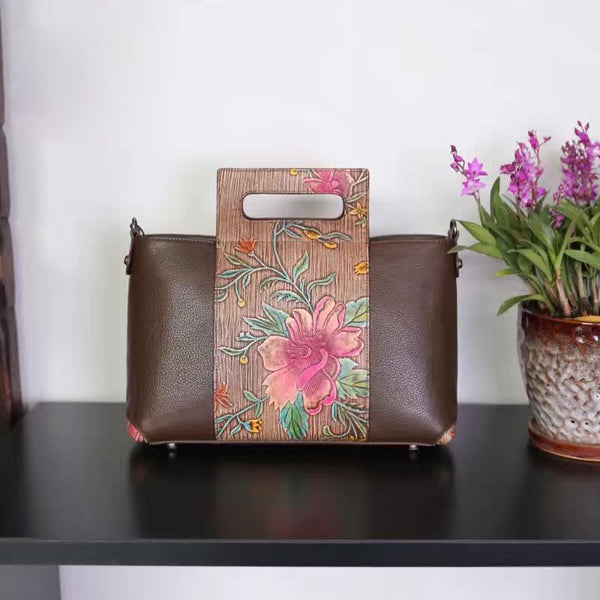 Designer Floral Pattern - Leather Tote Bag