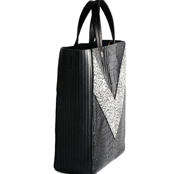 Designer Patchwork Leather Tote Bag with Crocodile Pattern