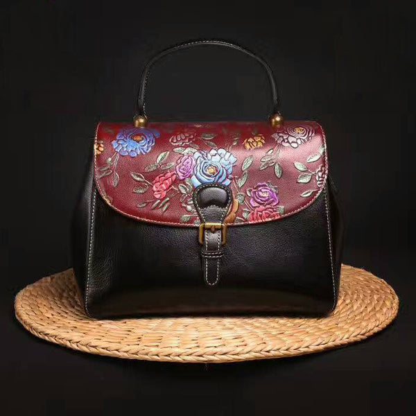 Designer Handcrafted Floral Patterned Leather Tote Bag