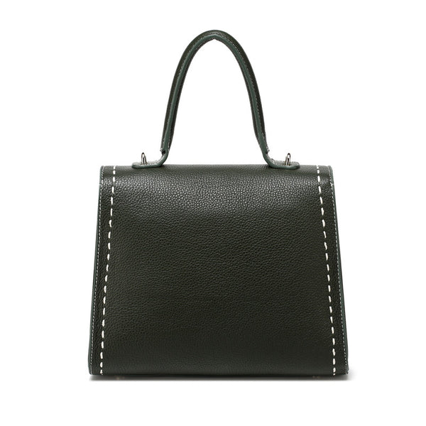Designer Top Stitched Leather Tote Bag