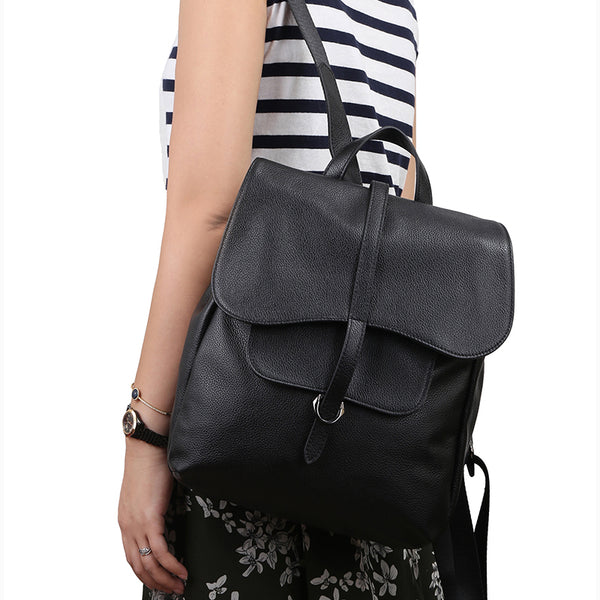 Designer Leather Backpack With A Flap Over