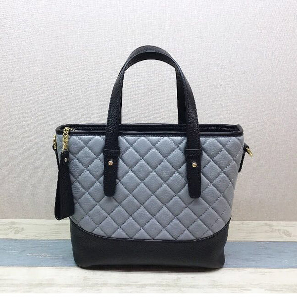 Designer Quilted Real Leather Tote Bag