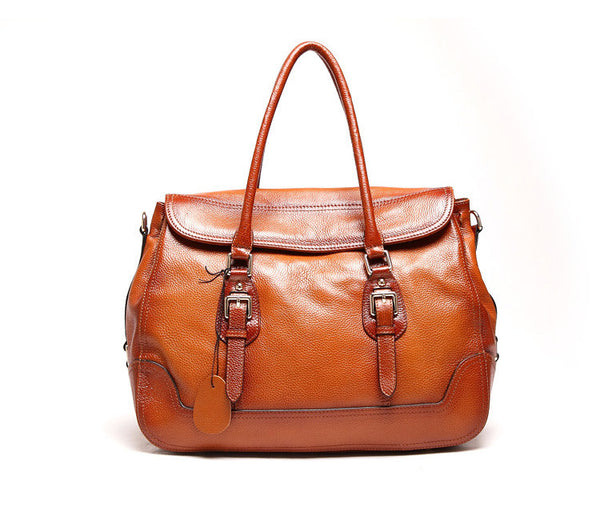 Designer Brown Italian Leather Tote Bag