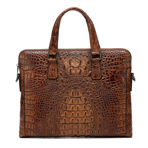 """Designer Inspired"" Crocodile Pattern Leather Briefcase - Leather Briefcase Large Purse Shop"