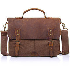 Designer Canvas & Leather Messenger Bag / Laptop Bag