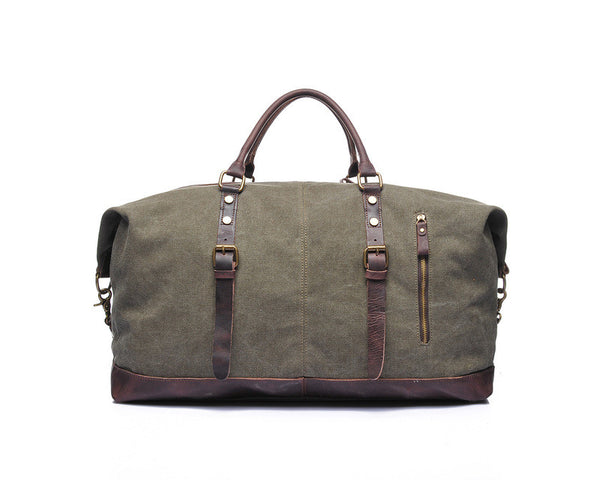 """Designer Inspired"" Canvas & Leather Travel Bag - Leather Hand Luggage Large Purse Shop"