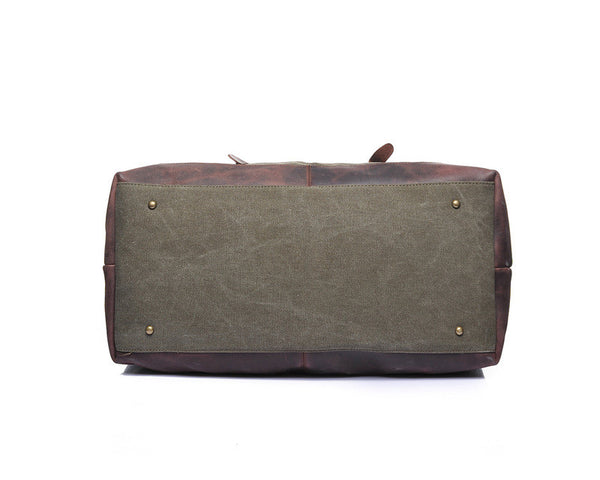 Designer Canvas & Leather Travel Bag - Leather Hand Luggage Large Purse Shop