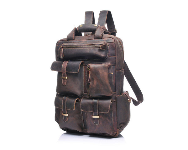 Designer Distressed  Leather Backpack - Leather Backpack Large Purse Shop