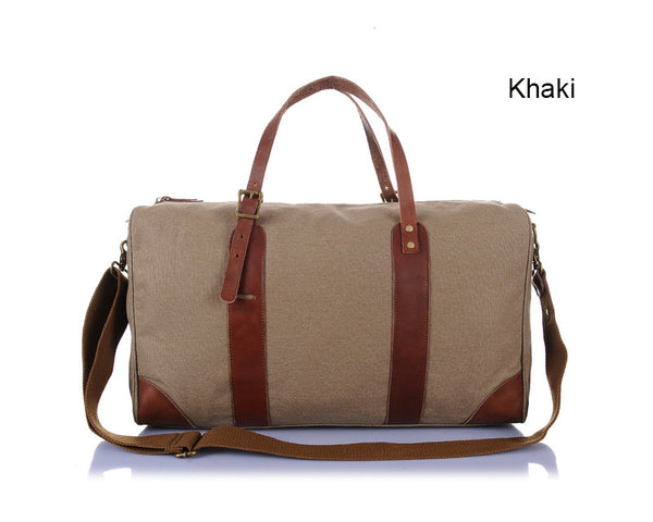 """Designer Inspired""  Canvas & Leather Luggage Bag - Leather Hand Luggage Large Purse Shop"
