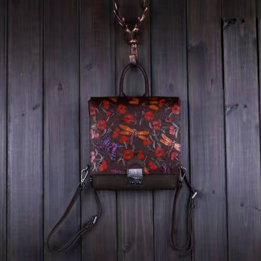 Designer Handcrafted Leather Backpack With Dragonfly Images
