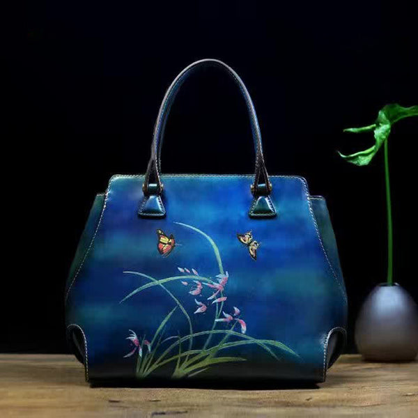 Designer Handcrafted Italian Leather Tote Bag - Designer Inspired Handbags Large Purse Shop