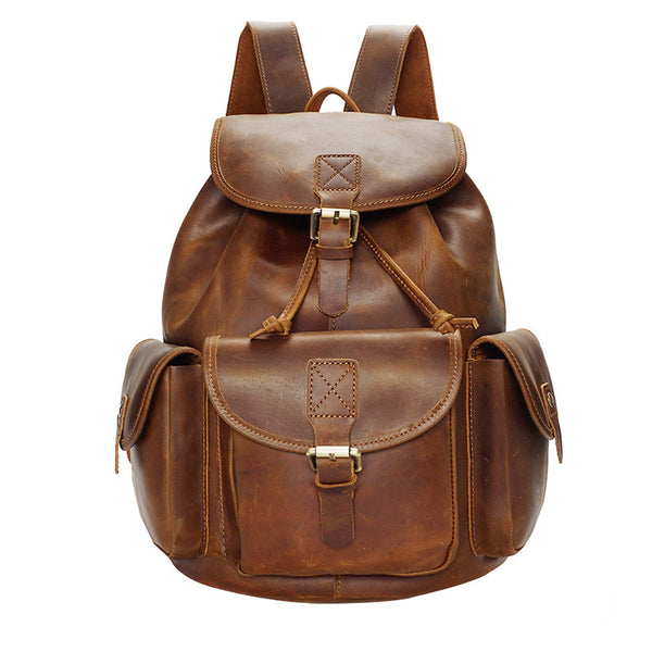 Designer Functional Pockets Distressed Leather Backpack - Leather Backpack Large Purse Shop