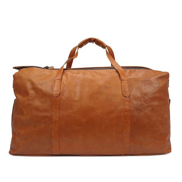 Designer Large Capacity Leather Duffel Bag - Weekender Bag