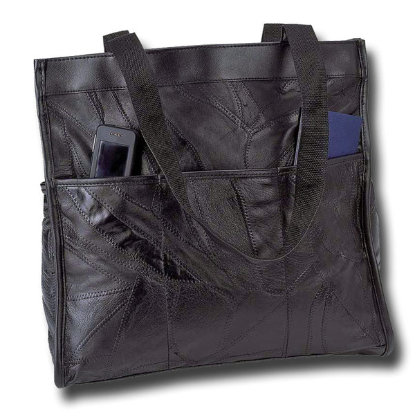 Italian Stone Design Genuine Leather Shopping Tote or Travel Bag - Black - Large Purse Large Purse Shop