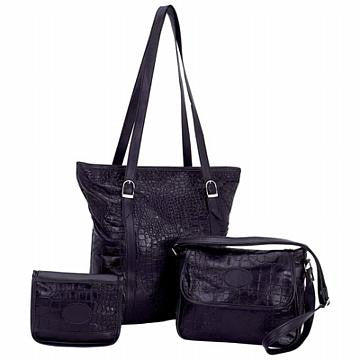 Solid Genuine Leather 3 Piece Purse Set with Crocodile Embossing - Large Purse Large Purse Shop