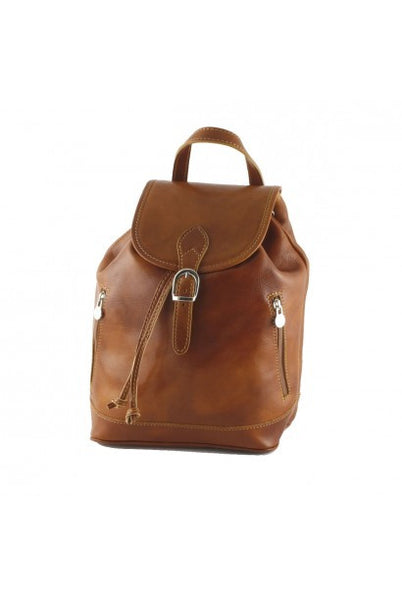 """Made In Italy"" Genuine leather backpack - Gengis - Small - Honey - Large Purse Shop - 8"